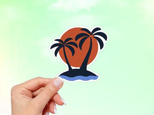 Palm Trees Vinyl Sticker, Tropical Sticker