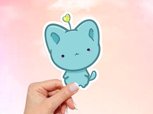 Kawaii Cat Vinyl Sticker, Bitty Neko Collection, Blue Neko