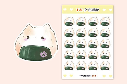 Cat Rice Ball Sticker Sheet, Cat sticker sheet