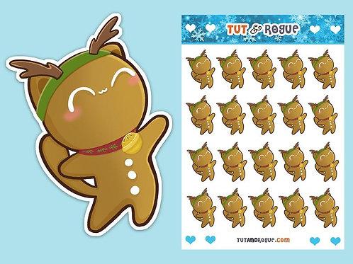 Christmas Gingerbread Man Sticker Sheet, Cat Stickers