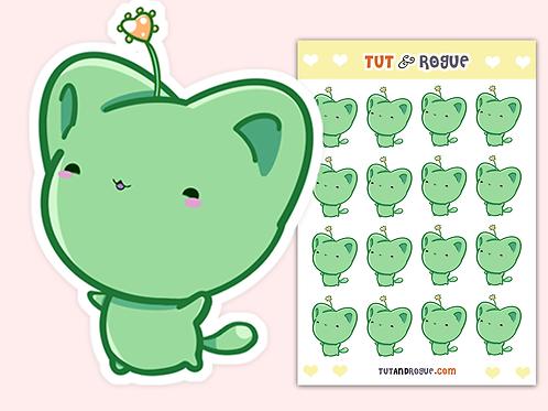 Kawaii Cat Sticker Sheet, Green Bitty Neko