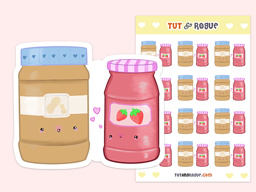 Peanut Butter and Jelly Sticker Sheet