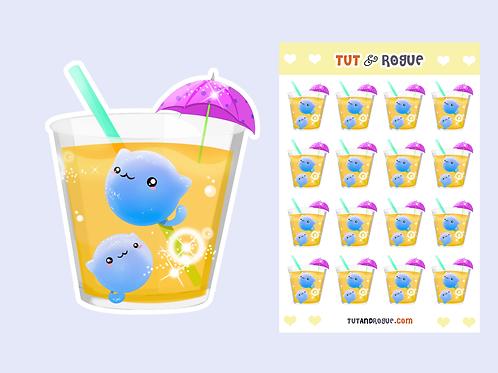 Tropical Drink Sticker Sheet, Cat Stickers