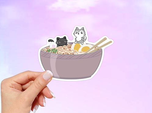 Ramen Noodle Vinyl Sticker, Ramen Bowl with Cat and Dog, Anime sticker