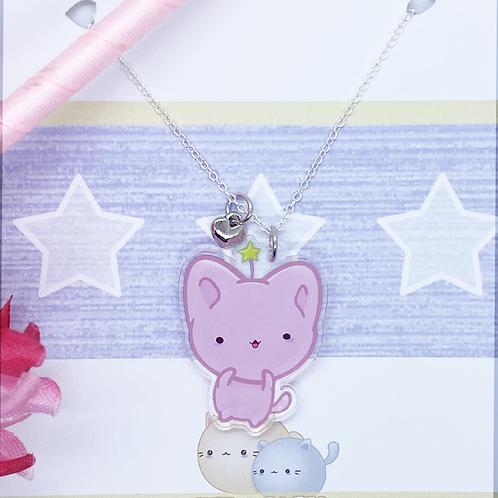 Kawaii Cat Necklace with Heart Charm, Kawaii Necklace, Bitty Neko