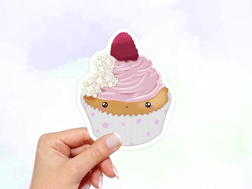 Raspberry Cupcake Vinyl Sticker, Dessert Sticker