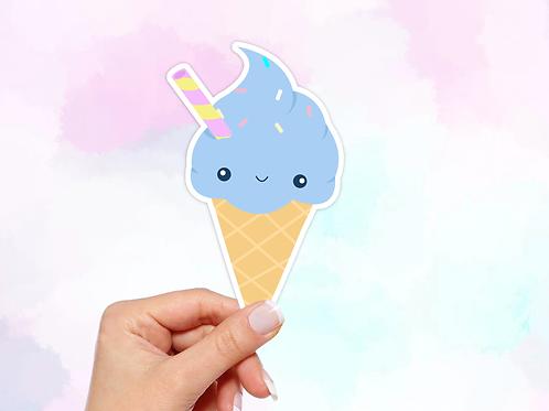 Ice Cream Cone Vinyl Sticker, Kawaii Sticker
