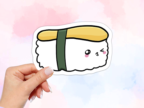 Sushi Vinyl Sticker, Kawaii Food Sticker, Kissing