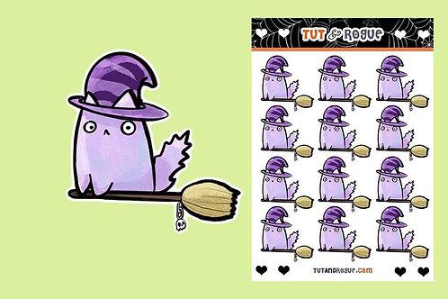 Witch cat Sticker Sheet, Kawaii Cat stickers