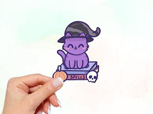 Witch cat Vinyl Sticker, Cat Sticker, Halloween Sticker