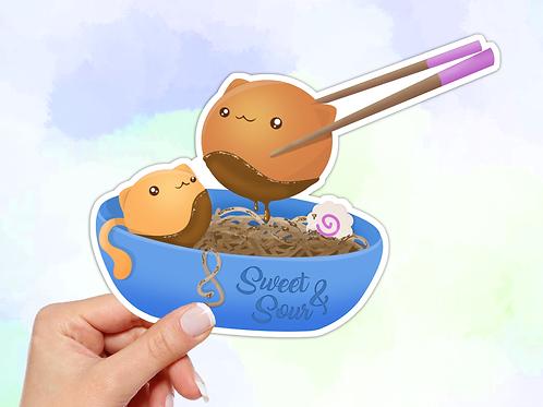 Ramen sticker, Kawaii Cat Sticker