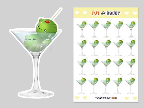 Cat Martini Sticker Sheet