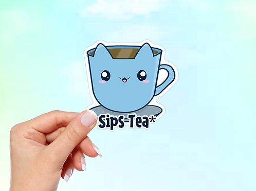 Tea Sticker, Cat Sticker, Sips Tea
