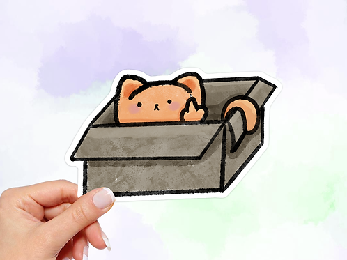 Funny Cat Sticker, Cat in a Box Sticker, Middle Finger