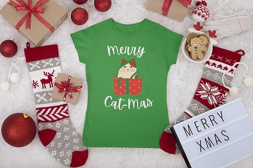 Christmas Cat T-shirt, Merry Cat-Mas Shirt, Short-Sleeve Unisex T-Shirt