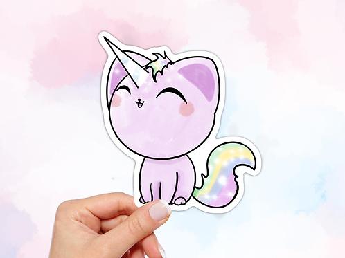 Unicorn Vinyl Sticker, Cat Unicorn Sticker
