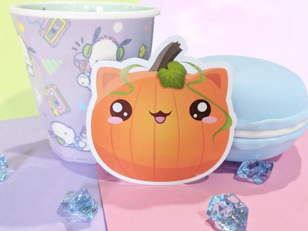 Cat Pumpkin Magnet, Halloween Magnet