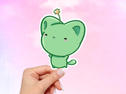 Kawaii Cat Vinyl Sticker, Green Bitty Neko