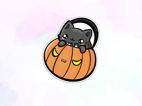 Cat in Pumpkin Sticker, Halloween Sticker