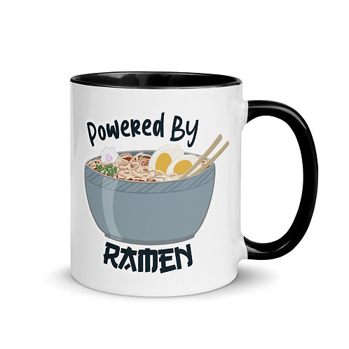 Powered by Ramen Mug with Color Inside, Ramen Noodle Coffee mug