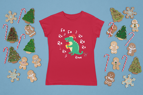 Funny Dinosaur Christmas T-Shirt, Short-Sleeve Unisex T-Shirt
