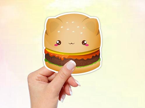 Hamburger Vinyl Sticker, Cat Sticker, Kawaii Sticker