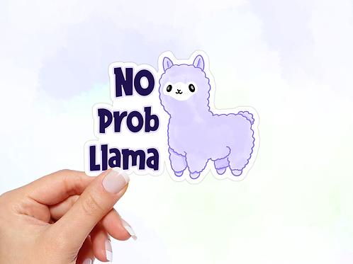 Llama Vinyl Sticker, No Prob Llama, Kawaii Sticker