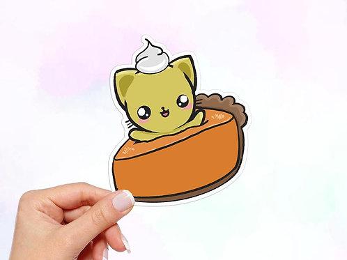 Pumpkin Pie Sticker, Cat Sticker, Thanksgiving Sticker