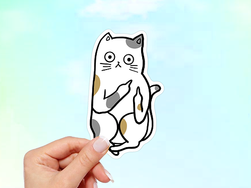 Funny Cat Sticker, Meme sticker, Middle Finger