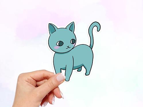 Blue Cat Vinyl Sticker, Cute Cat Stickers