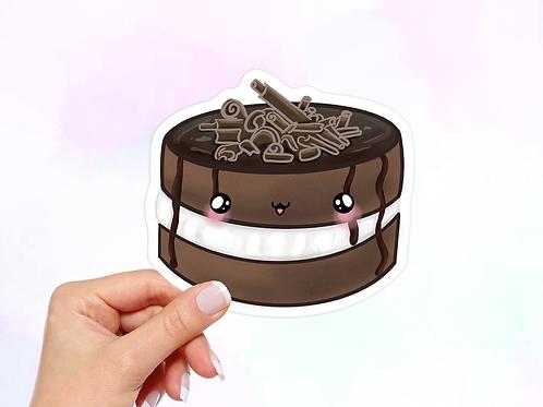 Chocolate Cake Vinyl Sticker, Dessert Sticker