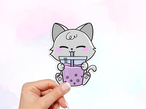Cat Boba Sticker, Bubble Tea Sticker