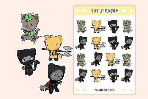 D and D Cat Sticker Sheet, Dungeons and Dragons Stickers
