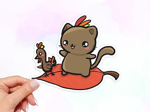 Thanksgiving Cat Sticker, Cat Sticker, Turkey Sticker