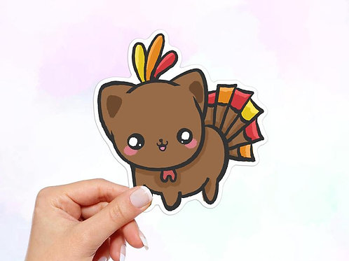 Cat Turkey Vinyl Sticker, Cat Sticker, Turkey Sticker