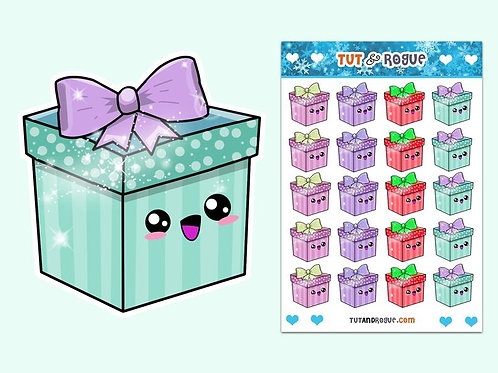 Gift Box Sticker Sheet, Christmas Stickers, Holiday Stickers