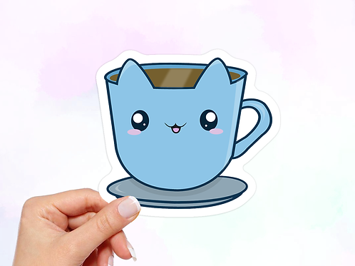 Tea Vinyl Sticker, Cat Sticker, Kawaii Sticker