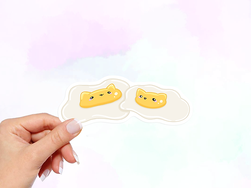 Eggs Vinyl Sticker, Cat Stickers