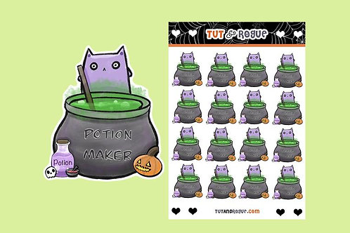Cat makes Potion Sticker Sheet, Kawaii Cat stickers