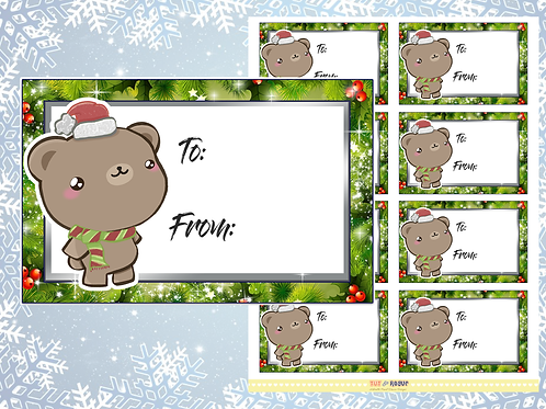 Christmas Gift Tags Bear Gift Labels