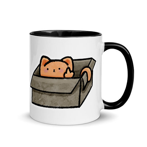 Funny Cat Mug with Color Inside, Cat in a Box, Middle Finger