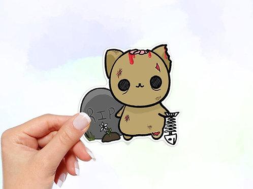 Zombie Cat Vinyl Sticker, Halloween Sticker