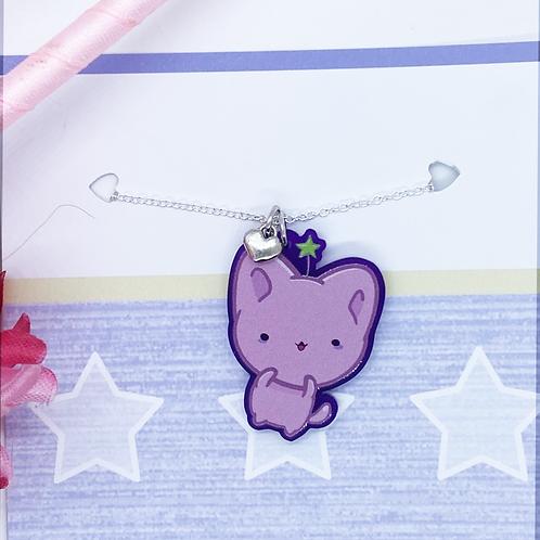 Kawaii Cat Necklace with Heart Charm, Purple Charm, Kawaii Necklace, Bitty Neko