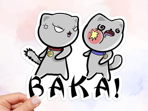 Baka Vinyl Sticker, Cats Sticker, Anime Sticker