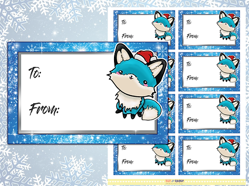 Christmas Gift Tags Blue Fox Gift Labels