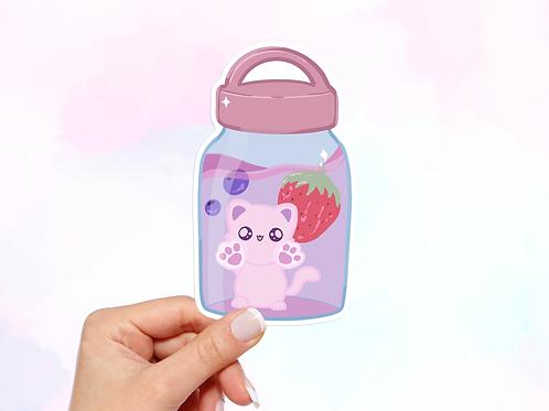 Cat in Water Bottle Vinyl Sticker