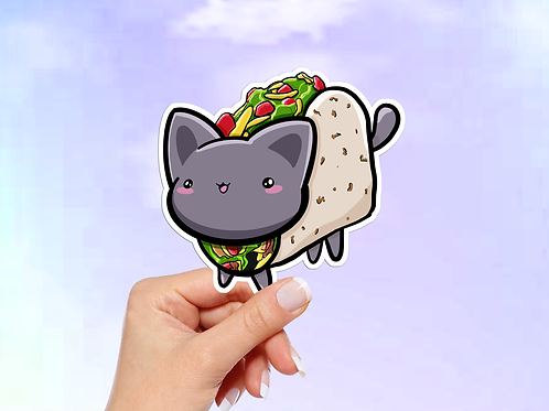 Taco Cat Vinyl Sticker, Cat Sticker, Kawaii Sticker