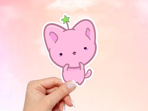 Kawaii Cat Vinyl Sticker, Pink Cat Sticker, Bitty Neko