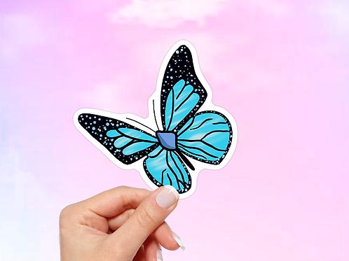 Butterfly Vinyl Sticker, Blue Butterfly