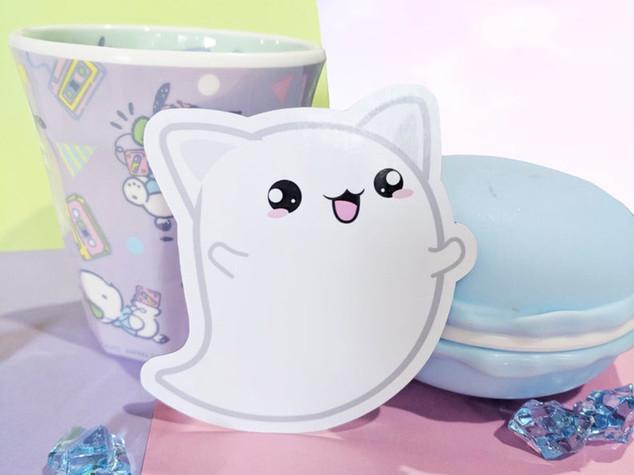 Cat Ghost Magnet, Halloween Magnet